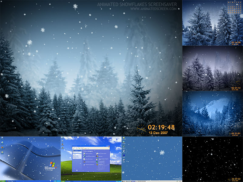 This screen-saver will bring tranquil mood of a winter forest right on your desktop. Snowflakes slowly coming down in a mysterious winter forest to the quiet, chill background music. Watch wonderful winter landscapes and trees covered with a snow.